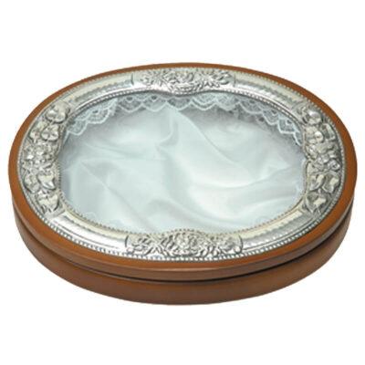 Στεφανοθήκη Οβάλ Λουλούδι-Flower Oval Wedding Wreath Case