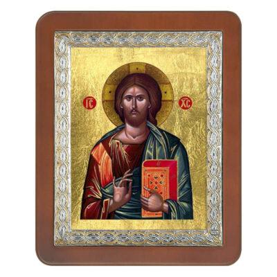Ξύλινη Εικόνα με Τετράγωνη Βυζαντινή Κορνίζα και Μεταξοτυπία