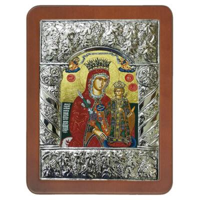 Ξύλινη Εικόνα με Σύνθετη Βυζαντινή Κορνίζα και Μεταξοτυπία-Wooden Icon with Composite Byzantine Frame and Silkscreen