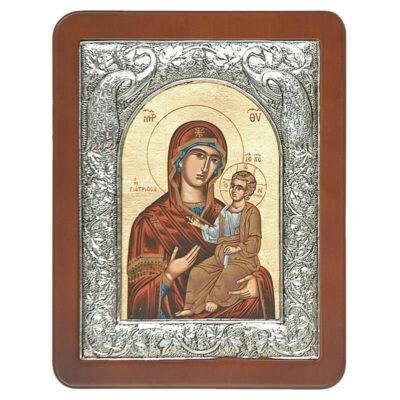 Ξύλινη Εικόνα με Σύνθετη Κορνίζα D και Μεταξοτυπία-Wooden Icon with Composite Frame D and Silkscreen