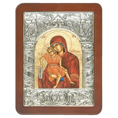 Ξύλινη Εικόνα με Σύνθετη Κορνίζα G και Μεταξοτυπία-Wooden Icon with Composite Frame G and Silkscreen