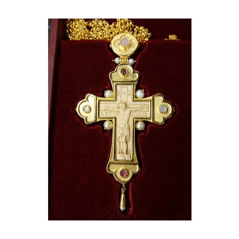 Σταυρός επιστήθιος από ασήμι 925 με ένθετο σκαλιστό μαμούθ-Handmade silver pectoral cross 925 sterling, sculptured mammoth tooth inlay