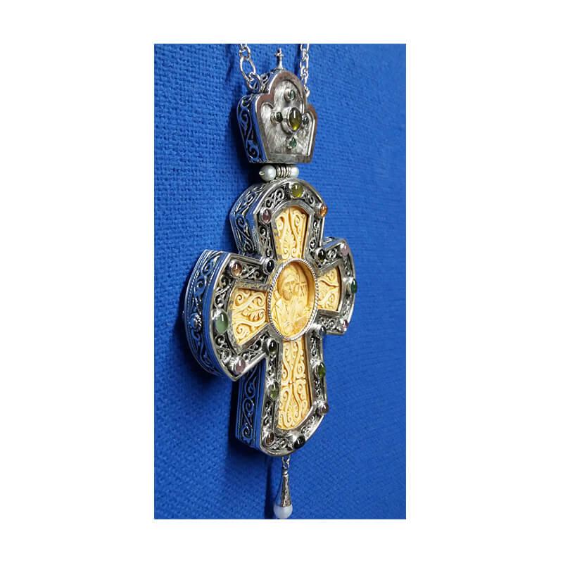 Σταυρός επιστήθιος από ασήμι 925 διάτρητο με ένθετο σκαλιστό μαμούθ-Handmade silver pectoral cross 925 sterling (perforated design), sculptured mammoth tooth