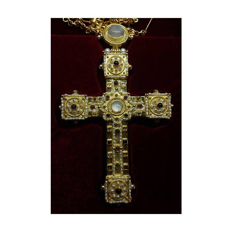 Χειροποίητος σταυρός από ασήμι 925-Handmade silver pectoral cross 925 sterling decorated with semiprecious stones and pearls