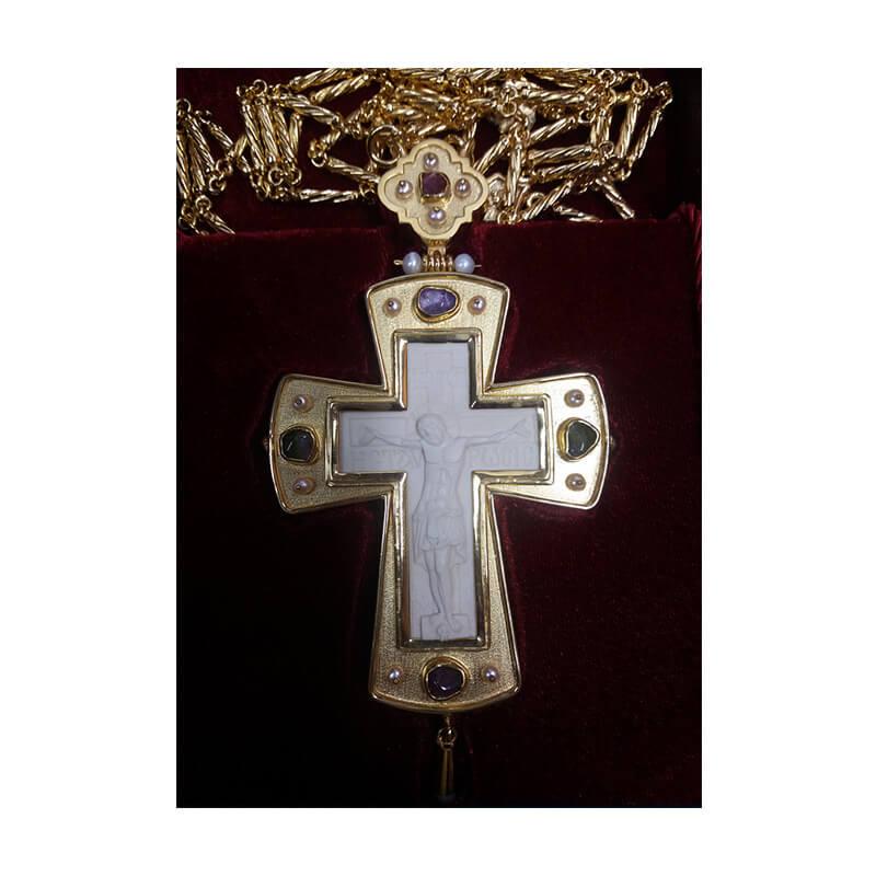 Σταυρός επιστήθιος από ασήμι 925 με ένθετο σκαλιστό μαμούθ-Handmade silver pectoral cross 925 sterling, sculptured mammoth tooth