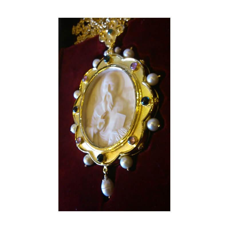 Εγκόλπιο χειροποίητο ασήμι 925 ένθετο σκαλιστό δόντι μαμούθ-Handmade silver 925 engolpion