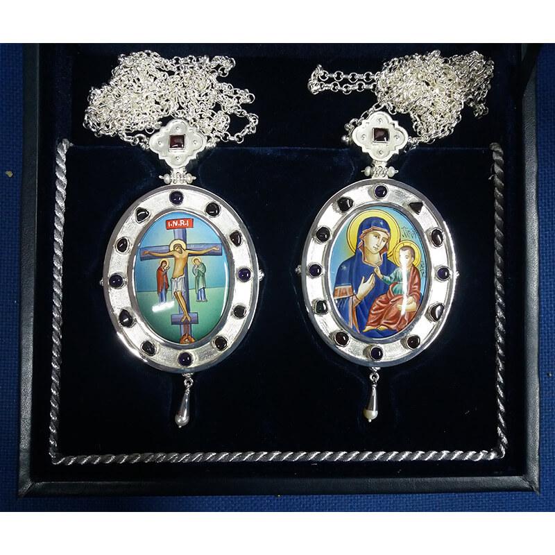 Εγκόλπια από ασήμι 925 ένθετο σμάλτο-Handmade silver 925 engolpion